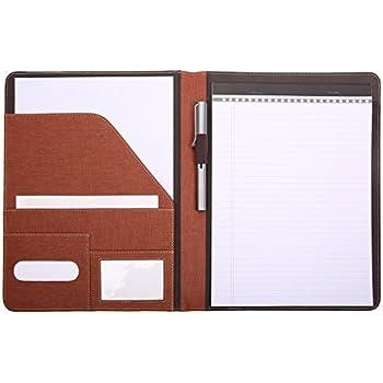 leathario professional padfolio business resume portfolio conference file folder document organizer with secure zippered closure