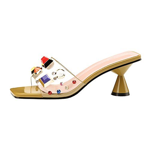 T-JULY Women's Color Rivets Transparent Open Toe Kitten Stiletto Heels Slides-Sandals Backless Dress Pumps Shoes Yellow ()