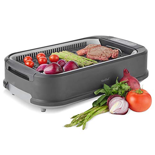 VonShef Indoor Electric Smokeless Grill | Portable And Compact for Indoor/Outdoor Use| Advanced Smoke Extraction| Non-Stick Ceramic Grill Surface & Oil Drip Collection Tray | 1500W