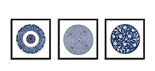 Set Print Blue Framed (White and Dark Blue Prints Set of 3 Framed Canvas Art Print Abstract Circle Wall Decortion)