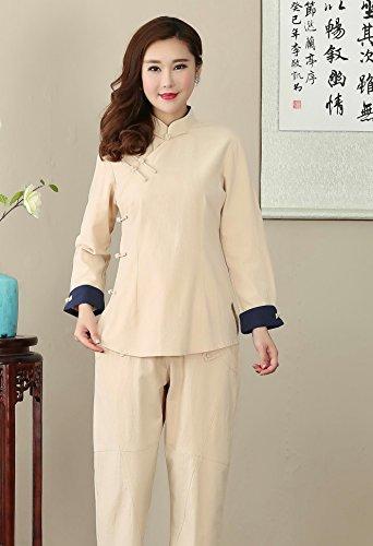 En Veste Tang Chinois Avec Longue Manche Chanvre Traditionnel Rétro Vêtement Femme Chemise Beige Coton Acvip De Blouse FnXx0SO
