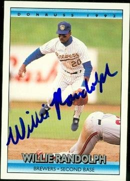Autograph Warehouse 48203 Willie Randolph Autographed Baseball Card Milwaukee Brewers 1992 Donruss No .625 (Randolph Willie Baseball Autographed)