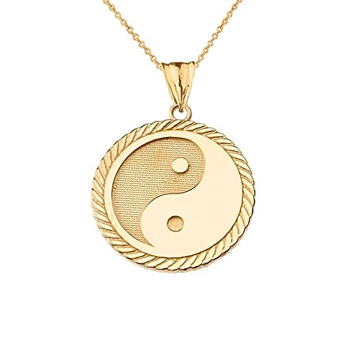 (Unique 10k Yellow Gold Ying Yang Rope Charm Pendant Necklace, 18