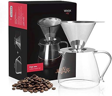 Pour Over Coffee Dripper cafetera eléctrica Acero Inoxidable Filter 600 ml 20oz: Amazon.es: Hogar