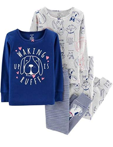 Carter's Girls' 3M-5T 4 Piece Pajama Set (12 Months, Blue Dogs) ()
