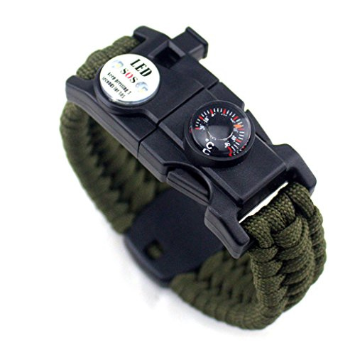 Zerama Men Women Braided Survive Bracelet LED Light Paracord Wristband Camping Rescue Rope Gear Kit with Whistle Compass Fire Starter