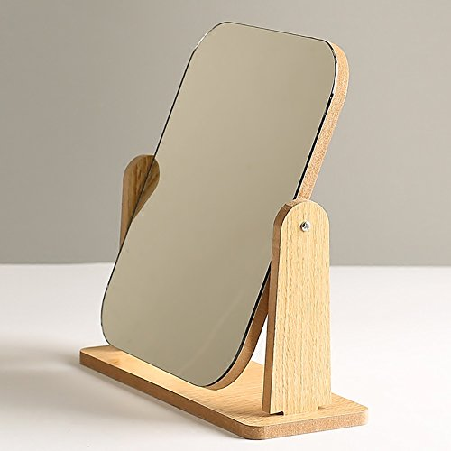 GUOWEI Mirror Wooden Single Side Rotatable Desktop Compact Makeup 2 Colours (Color -