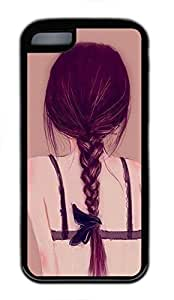 Soft TPU Shell Case for iPhone 5C Printed by Beautiful Back of Girl,Black Rubber Case Cover for iPhone 5C