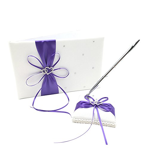Ribbon Guest Book - Abbie Home Double Heart Rhinestone Wedding Guest Book + Pen Stand + Pen Set Ribbon Bowknot Décor Party Favor-Purple