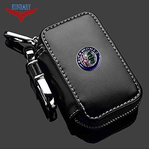 - ShineBear Genuine Leather Car Brand Key Holder Cars Key Wallets Car Key Keychain Ring Case Bag Cover For Alfa Romeo - (Color Name: Black)