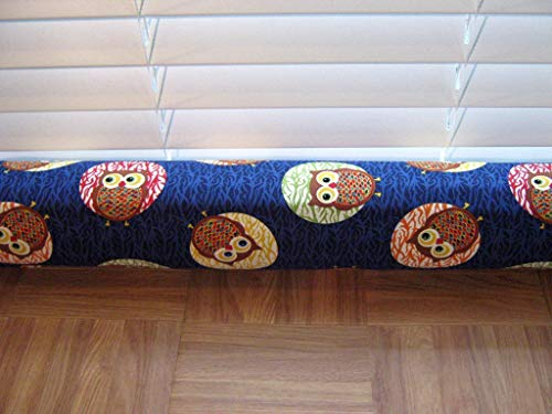 "Door Draft Stopper Fabric Only Cotton Fabric Multi Colored Owls Custom Made 20""- 26"" X 3"" Short You Pick Length Same Price"