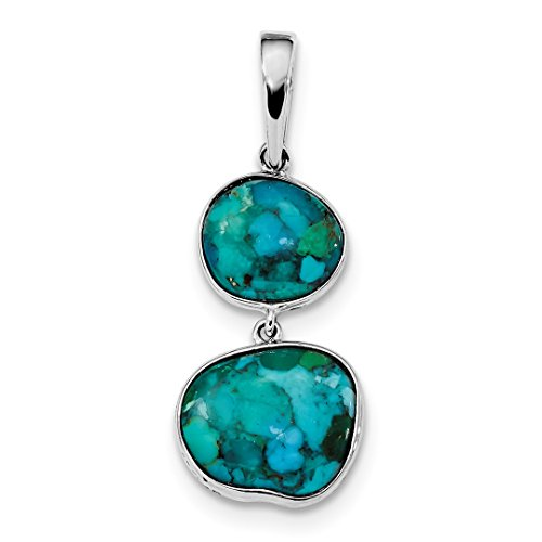 Genuine Double Strands Turquoise Necklace - 925 Sterling Silver Reconstituted Blue Turquoise Pendant Charm Necklace Fancy Fine Jewelry For Women Gift Set