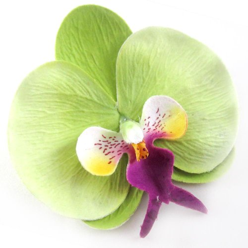 (10) Green Phalaenopsis Orchid Silk Flower Heads - 3.75