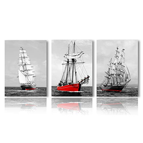 (Meigan Art Canvas Wall Art 3 Panels Seascape Painting Red Boat Ocean Picture Giclee Print for Home Decoration Stretched and Framed Ready to Hang (12X16InchX3))