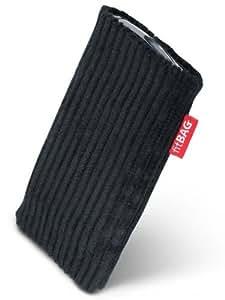 fitBAG Retro Negro - Funda a medida, Exterior de pana, con forro interno de microfibra, para Apple iPhone 4 16GB 32GB iPhone4 16 32 GB
