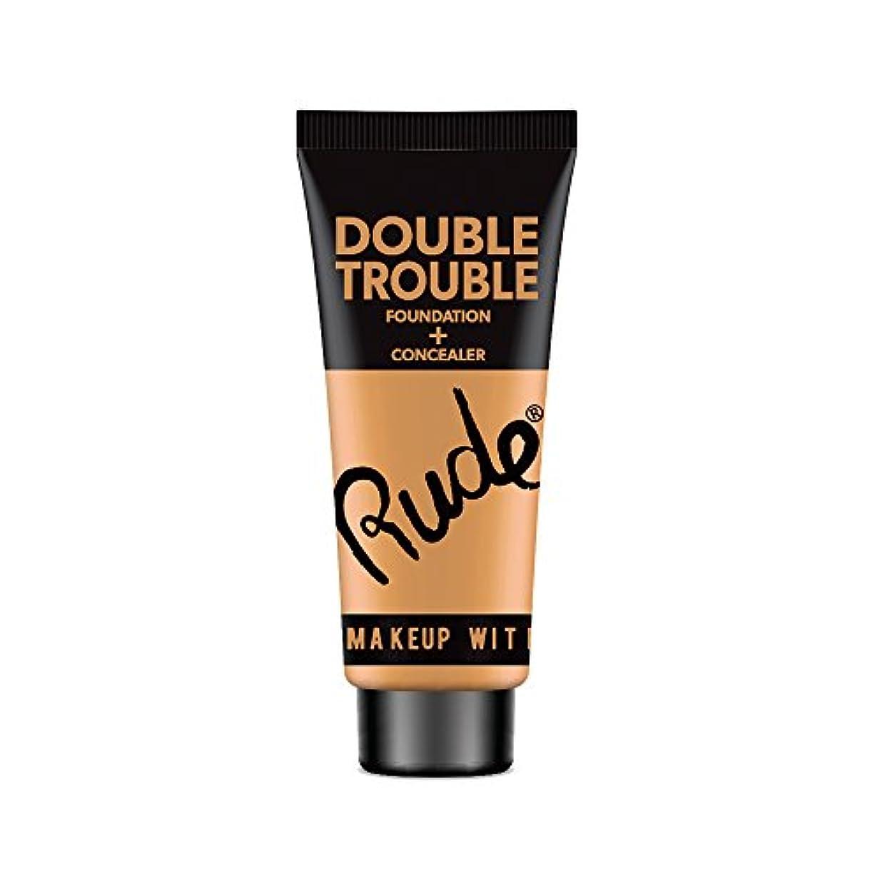 に対応永久産地RUDE Double Trouble Foundation + Concealer - Warm Natural (並行輸入品)