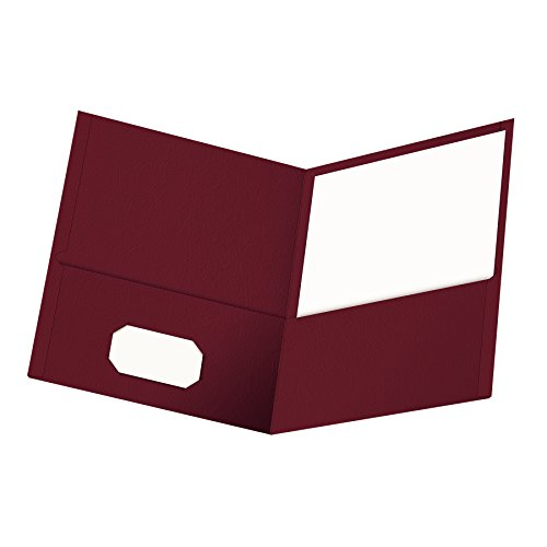 (Oxford Twin-Pocket Folders, Textured Paper, Letter Size, Burgundy, Holds 100 Sheets, Box of 25 (57557))