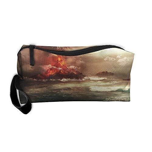 Portable Travel Cosmetic Toiletry Clutch Bag Organizer Case Oxford Volcano Eruption Funny Art Storage Pouch (Volcano Oxford)
