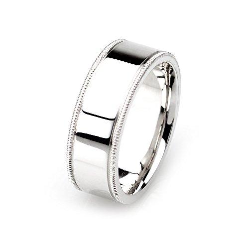 IVANOV 14k White Gold Mens Wedding Band, 8mm width, High polished, milgrained edges ()