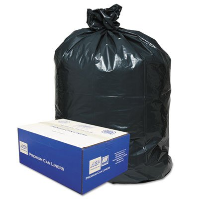2-Ply Low-Density Can Liners, 40-45gal, .6mil, 40 x 46, Black, 250/Carton, Sold as 1 Carton (Classic Trash 2 Can Ply)