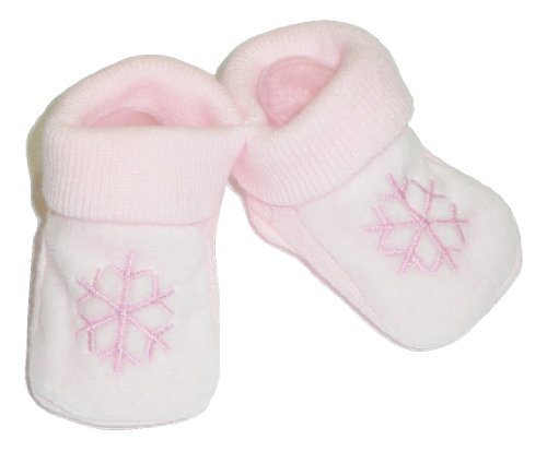 Newborns Acrylic Pink Booties with Dark Pink Snowflake Embroidery