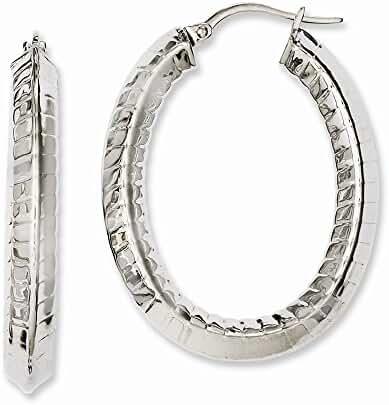 Stainless Steel Textured Hollow Oval Hoop Earrings