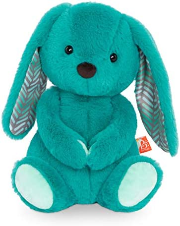 """B. toys – Plush Bunny – Super Soft Stuffed Animal – Teal – 12"""" – Washable Rabbit Toy – for Babies, Toddlers, Kids – Happy Hues – Cottontail Cutie – 0 Months + (BX1926C30Z)"""
