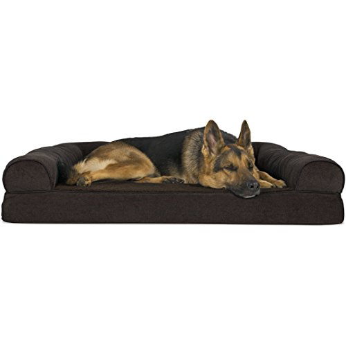FurHaven Pet Dog Bed | Orthopedic Faux Fleece & Chenille Soft Woven Sofa-Style Couch Pet Bed for Dogs & Cats, Coffee, Jumbo