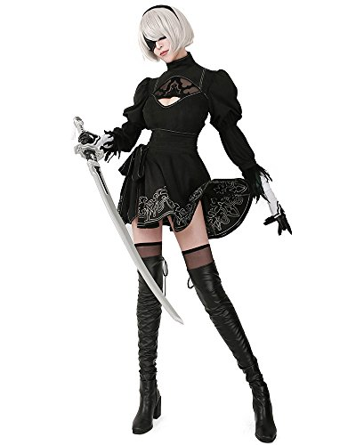 miccostumes Women's No 2 Type B Cosplay Leotard Skirt with Mask Hairband Leggings (Women m) Black -