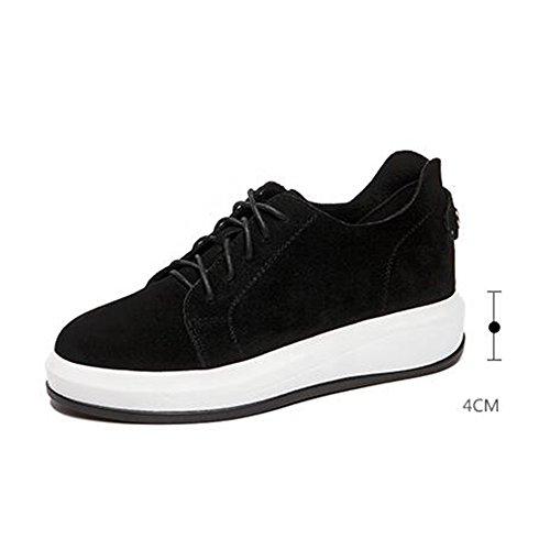 Printemps Marron Taille Confort Marche FUFU Chaussures 5 Talon Couleur sport givré Chaussures en 4 Noir à UK4 Automne EU37 de CN37 Dentelle de l'extérieur pour Décontractées 4cm Chaussures Femmes x1BW01nAwq