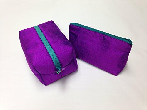 Purple Silk Toiletry/Makeup Bag Set by Candace Sormani