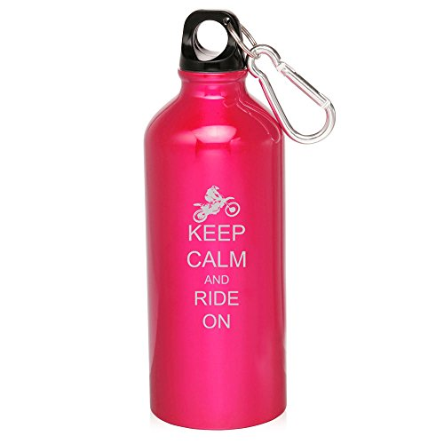 Hot Pink Dirt Mx Bike Keep Calm Ride On 20Oz Aluminum Sports Water Bottle Canteen Clip Keep Calm Ride On Dirt Mx Bike by Sport bottle