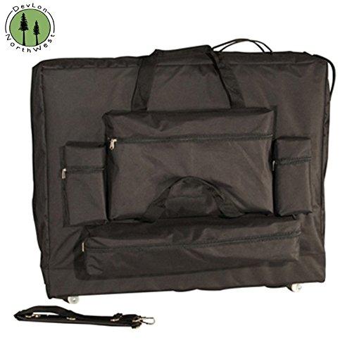 DevLon NorthWest Oversized Massage Table Carrying Case With Wheels 4 Front Pockets Black (32