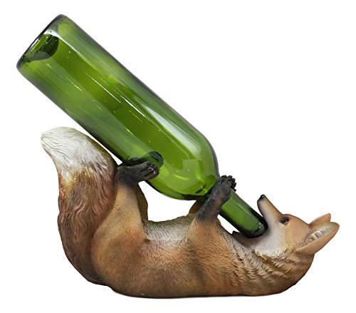 Ebros Sly Drunken Fox Wine Bottle Holder Fox And Grapes Decorative Wine Bar or Kitchen Countertop Caddy Storage Figurine Vino Zorro Whimsical Animal Sculpture