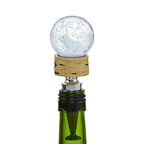 Holiday Wine Bottle Stopper BEAR SNOW GLOBE Christmas Wine Stopper Let It Snow ()