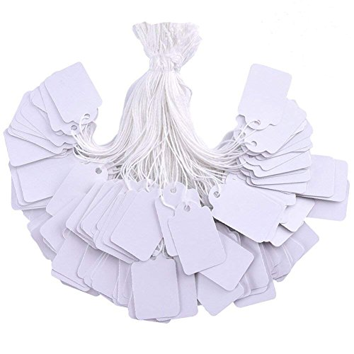 Brothersbox 500 Pieces White Tags with String Marking Strung Tags writable Tags Display Label for Product Jewelry Clothing Tags, 1.375 x 0.875 inches, Pack of 500 Pieces ()