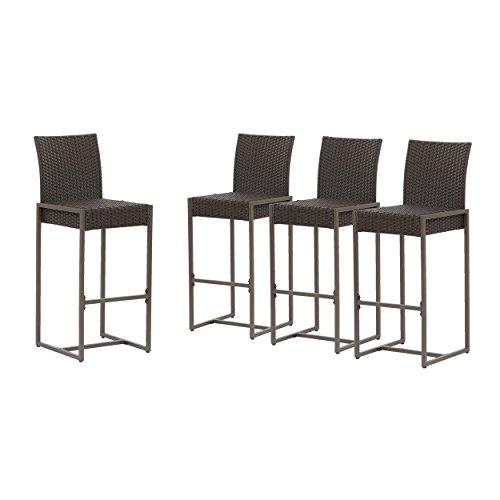 Great Deal Furniture 305162 Kelly Outdoor Wicker 30 Inch Barstool Set of 4 , Dark Brown