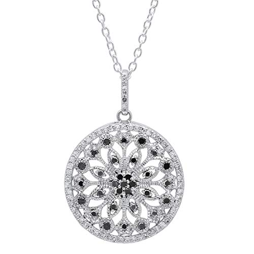 Dazzlingrock Collection 0.50 Carat (ctw) 10K Round Black & White Diamond Ladies Circle Pendant 1/2 CT, White Gold