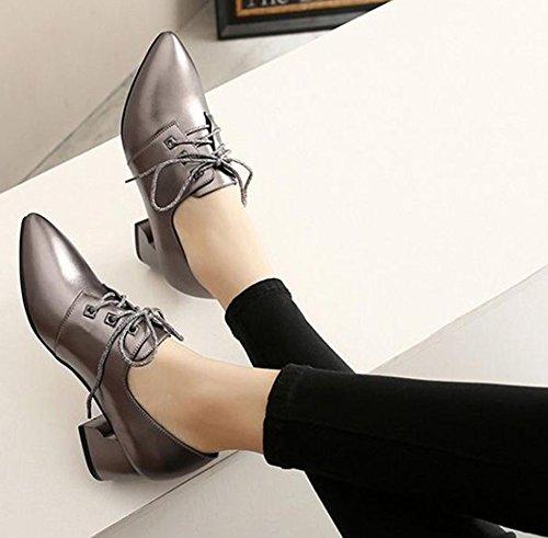 Lace Toe Pointed Womens Pumps Classic Easemax Gun Heels Chunky Up Mid nwaq70Og0f