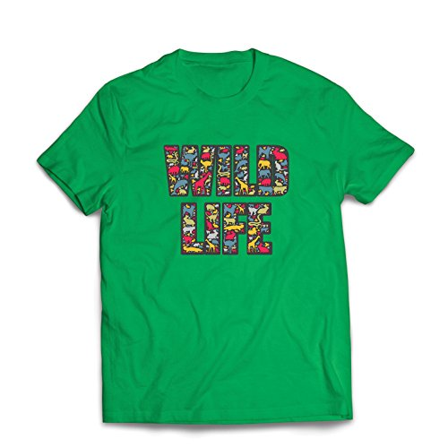 lepni.me Men's T-Shirt Wildlife - Save The Animals, Animal Rights Slogan (Small Green Multi Color) (Best Ide For Groovy)