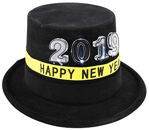 Gloworks New Years Light Up Flashing LED Party Pack Black Top hat& Fiber Optic Head Band Celebration Party Pack, 4 of -