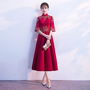 De Vino Largo Rojo Jkjhah Chino Novia Tinto Noche Vestido YaaEqF