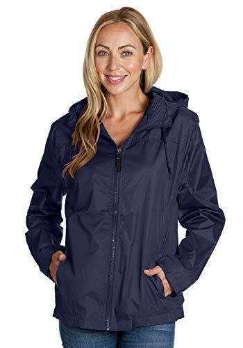 Equipment De Sport USA Swim Swimmers Jacket for Women Long Sleeve Ladies Hooded Navy Windbreaker (XL)