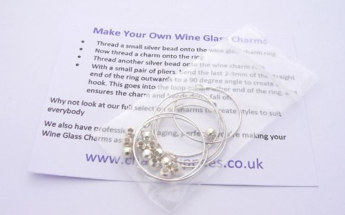 Make Your Own Wine Glass Charms Kit - Instructions Included (Across Stitch Kit)