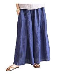 Women Casual Loose Wide Leg Pants 100% Thin Linen Casual Low Crotch Elastic Waist