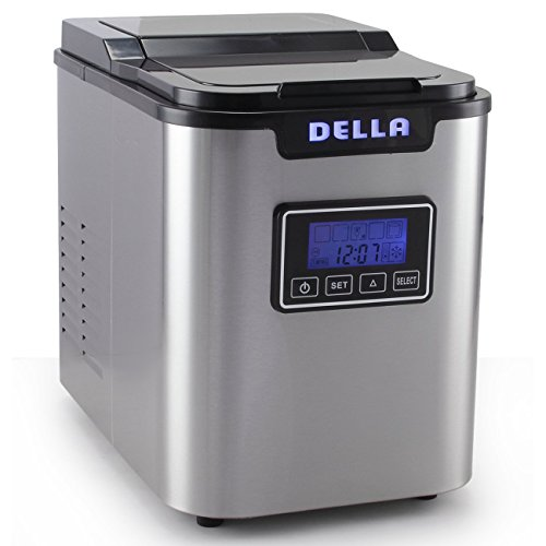 Della Electric Ice Maker Machine Express 26lbs/ Day with LCD Display Clock, Timer, Status -Stainless Steel