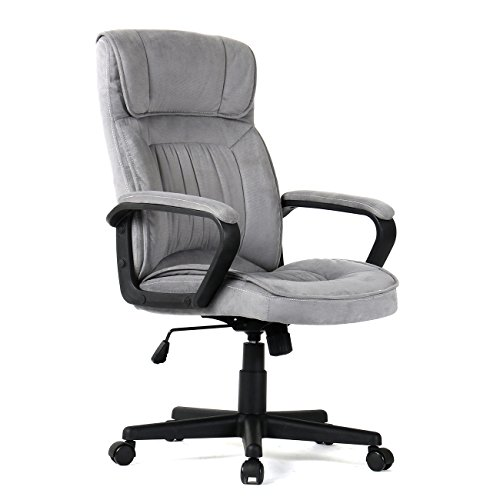 Belleze High Back Gray Microfiber Upholstered Contemporary Executive Office ()