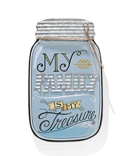Barnyard Designs Rustic My Family Is My Treasure Mason Jar Decorative Wood and Metal Wall Sign Vintage Country Decor 14