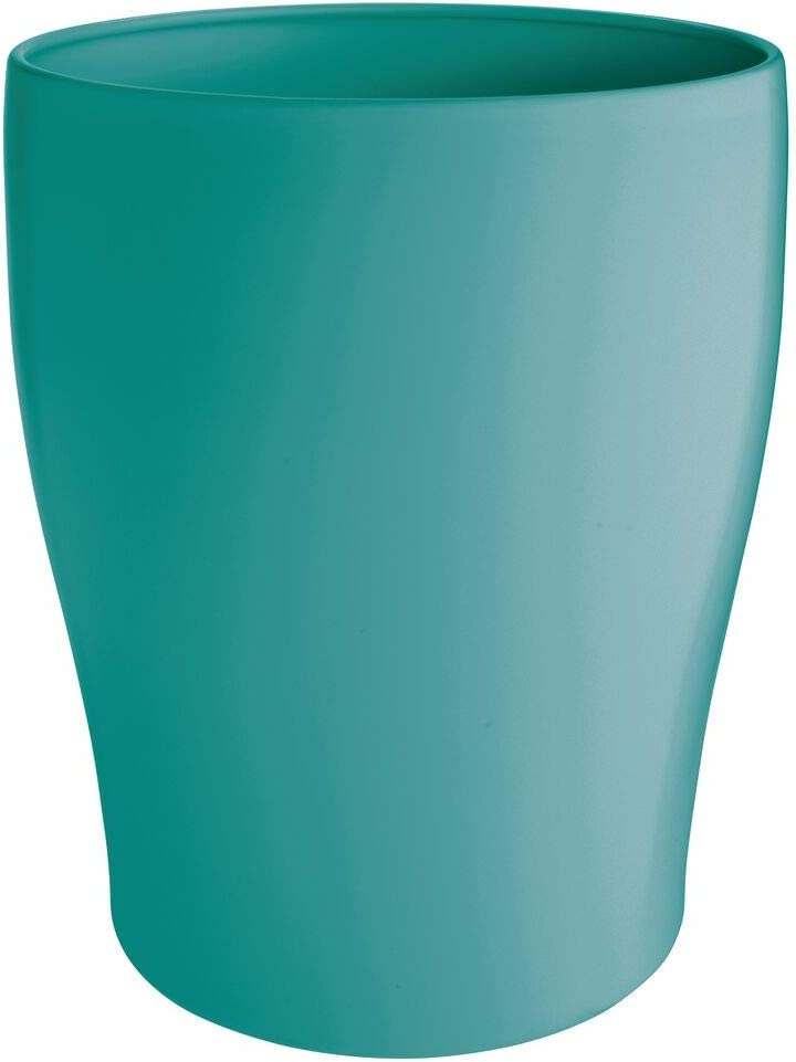 mDesign Modern Round Metal Small Trash Can Wastebasket, Garbage Container Bin for Storing and Holding Waste in Bathroom, Kitchen, Home Office, Craft Room, Laundry Room - Solid Steel - Teal Blue