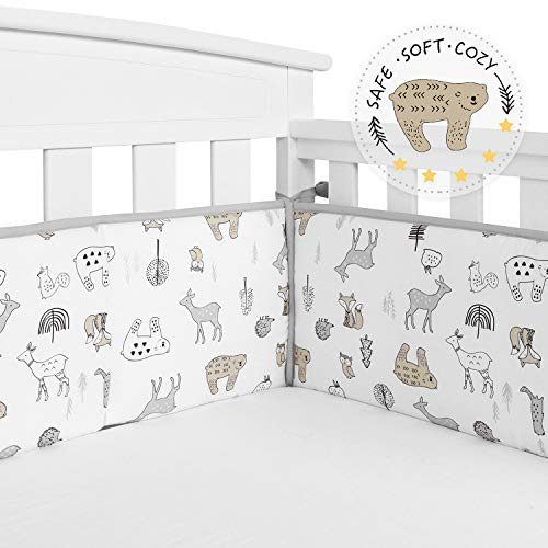 TILLYOU Baby Safe Crib Bumper Pads for Standard Cribs Machine Washable Padded Crib Liner Thick Padding for Nursery Bed 100% Silky Soft Microfiber Polyester Protector de Cuna, 4 Piece/Woodland Animals from TILLYOU